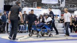 Photo: Participant of the CYBATHLON Experience 2017 overcomes obstacles on the ground during the course with his electric wheelchair